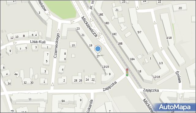 Warszawa, Mickiewicza Adama, 17, mapa Warszawy