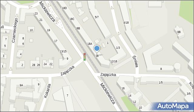 Warszawa, Mickiewicza Adama, 18, mapa Warszawy
