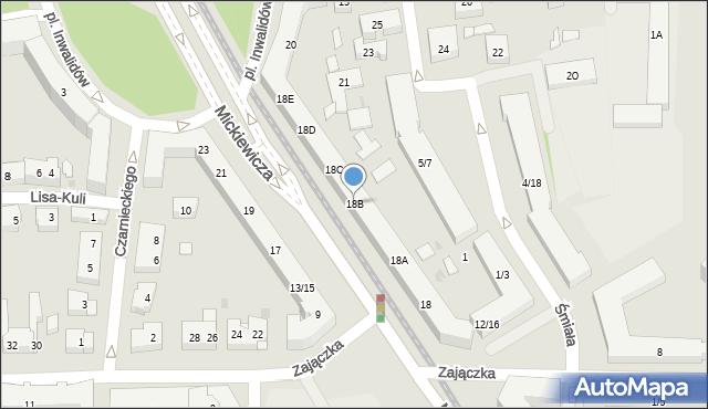 Warszawa, Mickiewicza Adama, 18B, mapa Warszawy