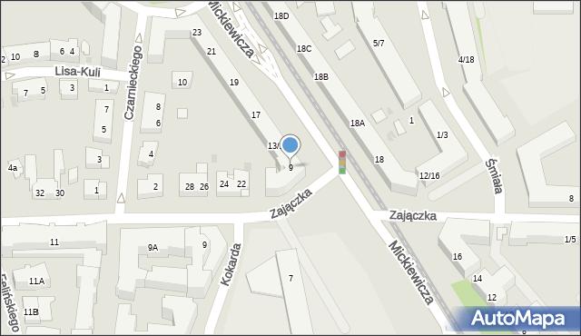 Warszawa, Mickiewicza Adama, 9, mapa Warszawy
