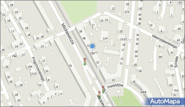 Warszawa, Mickiewicza Adama, 22A, mapa Warszawy