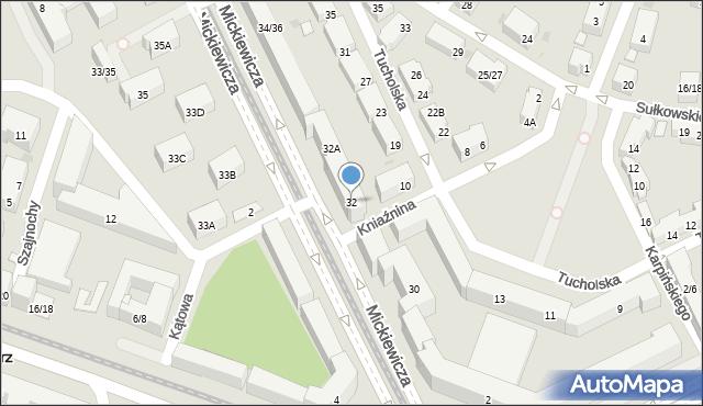 Warszawa, Mickiewicza Adama, 32, mapa Warszawy