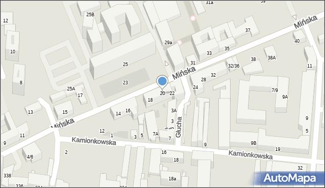 Warszawa, Mińska, 20, mapa Warszawy