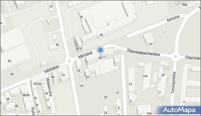 Warszawa, Mińska, 62, mapa Warszawy