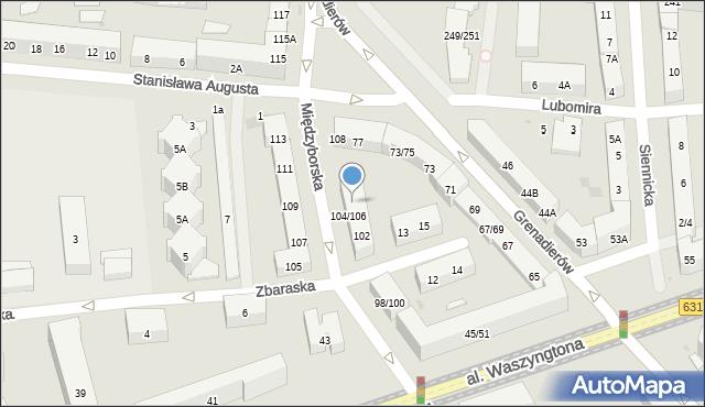 Warszawa, Międzyborska, 106, mapa Warszawy