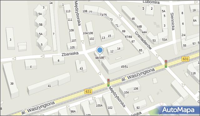 Warszawa, Międzyborska, 98/100, mapa Warszawy