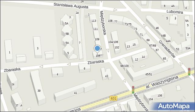 Warszawa, Międzyborska, 105, mapa Warszawy