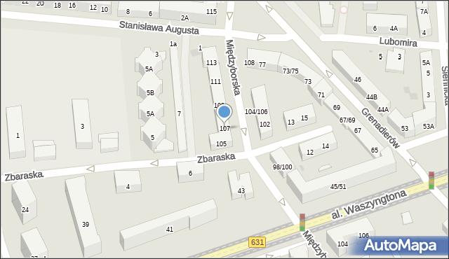 Warszawa, Międzyborska, 107, mapa Warszawy