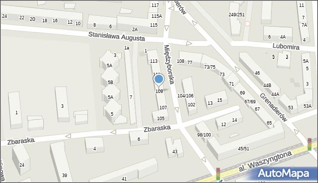Warszawa, Międzyborska, 109, mapa Warszawy