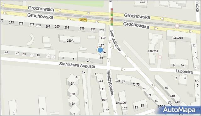 Warszawa, Międzyborska, 115, mapa Warszawy