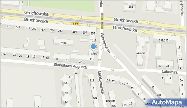 Warszawa, Międzyborska, 115A, mapa Warszawy