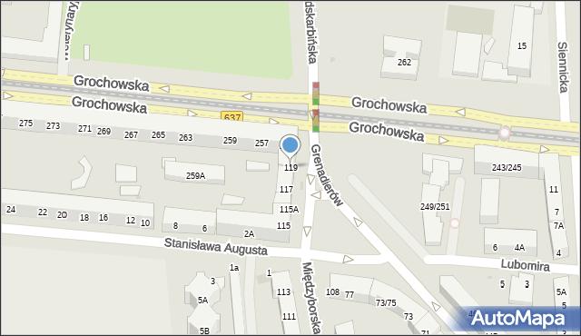 Warszawa, Międzyborska, 119, mapa Warszawy