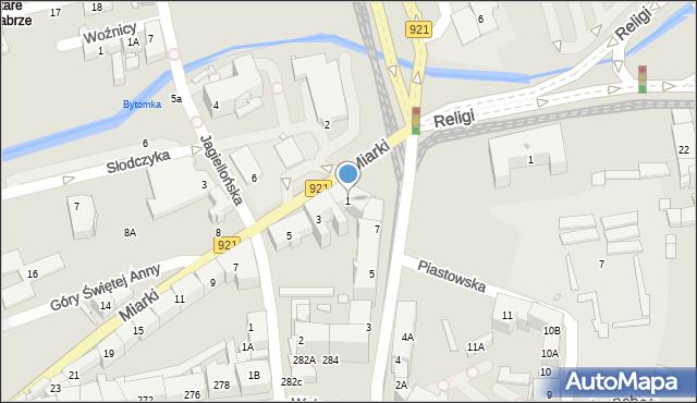 Zabrze, Miarki Karola, 1, mapa Zabrza