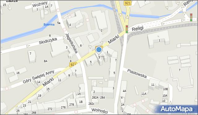 Zabrze, Miarki Karola, 3, mapa Zabrza