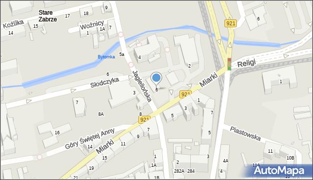 Zabrze, Miarki Karola, 6, mapa Zabrza