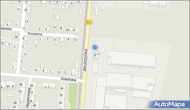 Zabrze, Mikulczycka, 13, mapa Zabrza