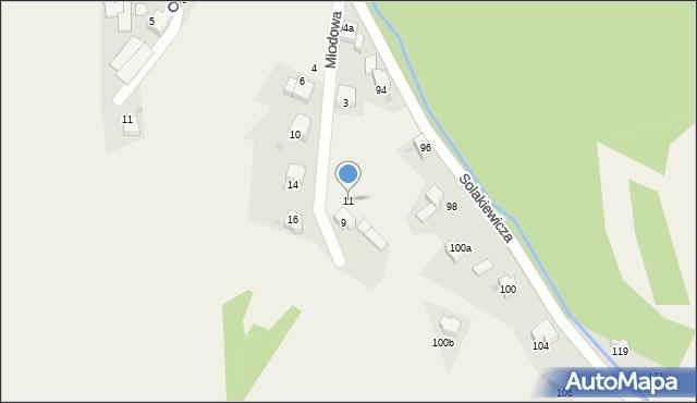 Zagórnik, Miodowa, 11, mapa Zagórnik