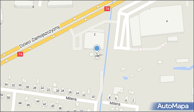 Zamość, Milera Stefana, 10d, mapa Zamościa