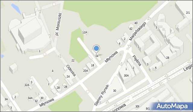 Białystok, Młynowa, 14, mapa Białegostoku