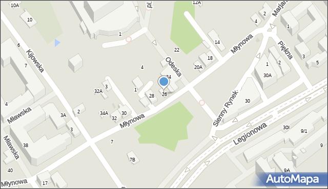 Białystok, Młynowa, 26, mapa Białegostoku