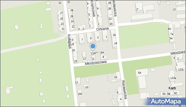 Bytom, Młodzieżowa, 11A, mapa Bytomia