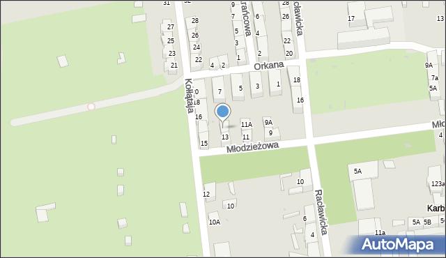 Bytom, Młodzieżowa, 13A, mapa Bytomia