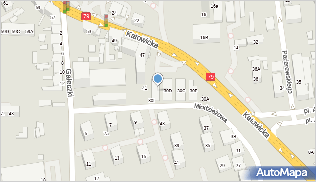 Chorzów, Młodzieżowa, 30E, mapa Chorzów