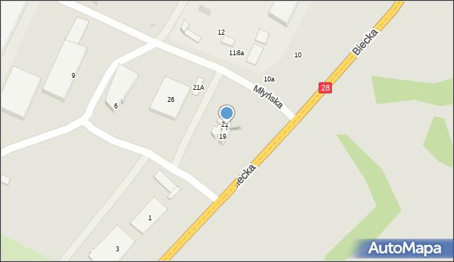 Gorlice, Młyńska, 21, mapa Gorlic