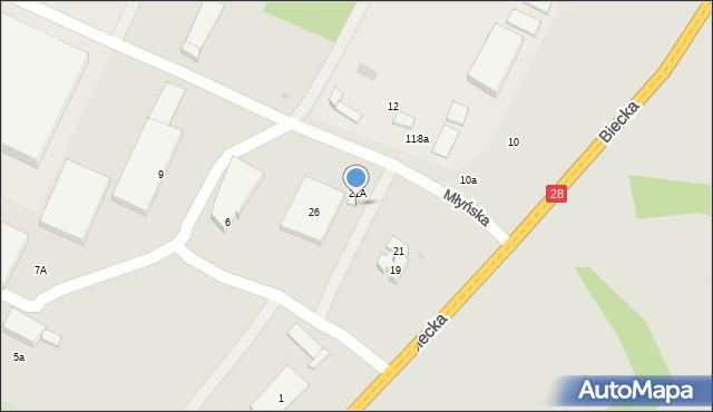 Gorlice, Młyńska, 21a, mapa Gorlic