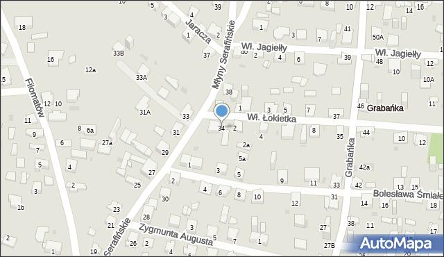 Jaworzno, Młyny Serafińskie, 34, mapa Jaworzno