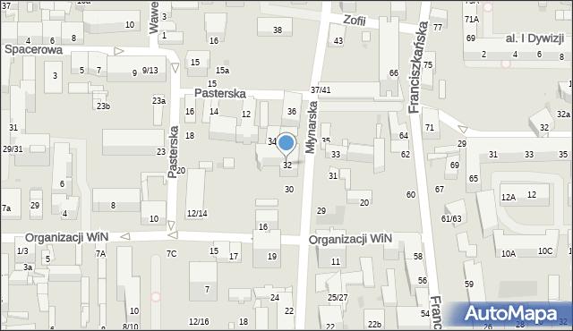 Łódź, Młynarska, 32, mapa Łodzi
