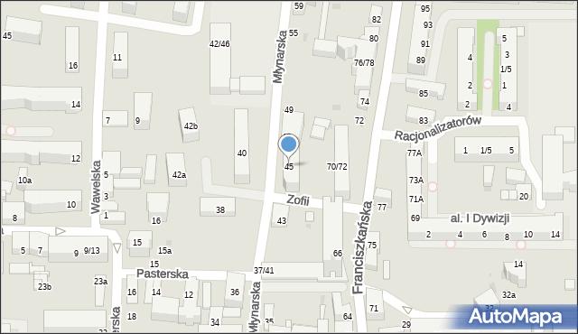 Łódź, Młynarska, 45, mapa Łodzi
