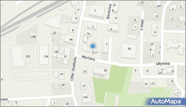 Luzino, Młyńska, 1, mapa Luzino