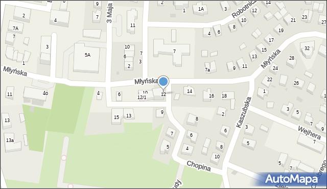 Luzino, Młyńska, 12, mapa Luzino