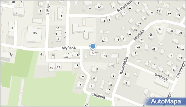 Luzino, Młyńska, 14, mapa Luzino