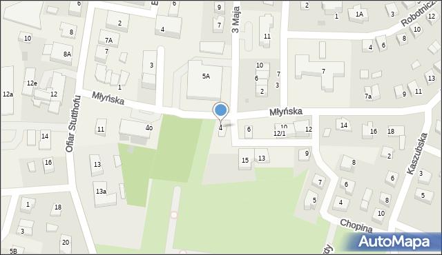 Luzino, Młyńska, 4, mapa Luzino