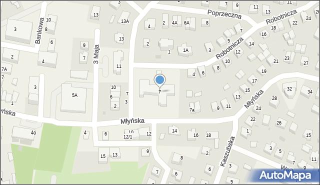 Luzino, Młyńska, 7, mapa Luzino