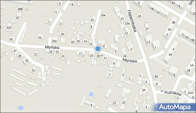 Ruda Śląska, Młyńska, 13, mapa Rudy Śląskiej