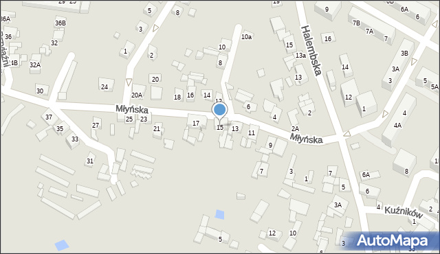Ruda Śląska, Młyńska, 15, mapa Rudy Śląskiej