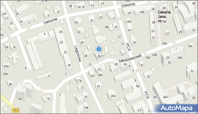 Toruń, Młodzieżowa, 13, mapa Torunia