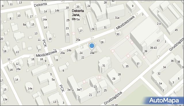 Toruń, Młodzieżowa, 24a, mapa Torunia