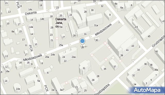 Toruń, Młodzieżowa, 26, mapa Torunia