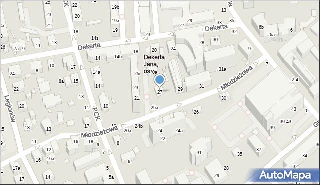 Toruń, Młodzieżowa, 27, mapa Torunia