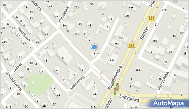 Warszawa, Młodzieńcza, 2, mapa Warszawy