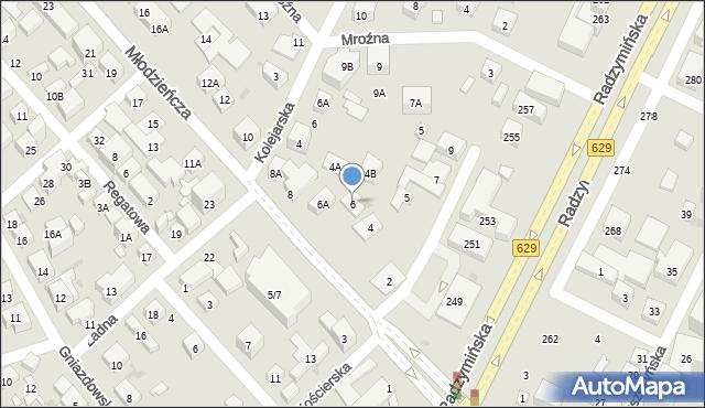 Warszawa, Młodzieńcza, 6, mapa Warszawy