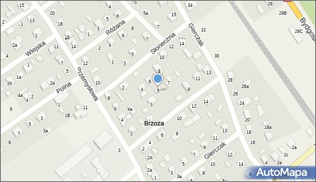 Brzoza, Modrakowa, 5, mapa Brzoza