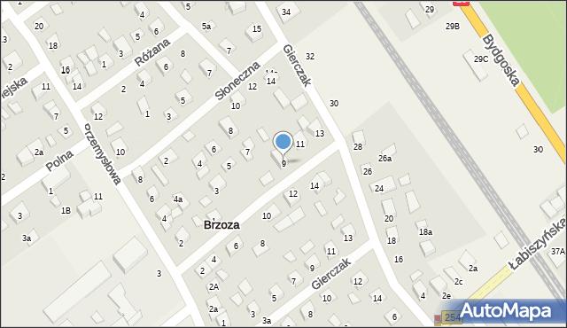 Brzoza, Modrakowa, 9, mapa Brzoza