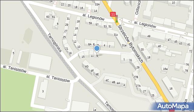 Bytom, Morcinka Gustawa, 9, mapa Bytomia