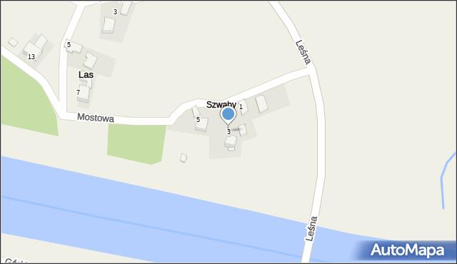 Las, Mostowa, 3, mapa Las