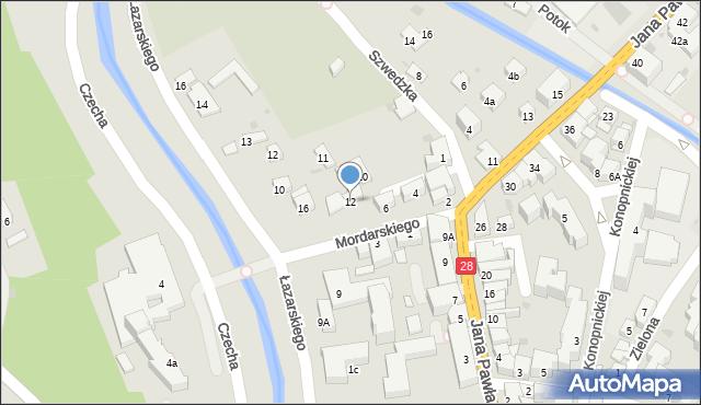 Limanowa, Mordarskiego Mieczysława, 12, mapa Limanowa